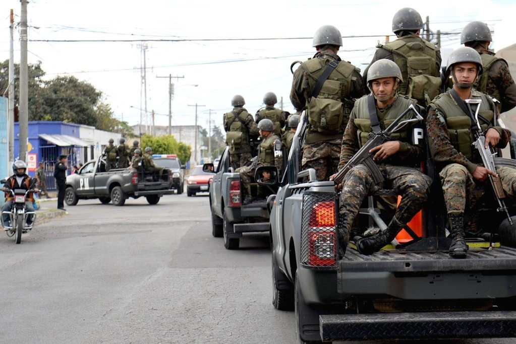 Soldiers Patrolling the Streets of Guatemala
