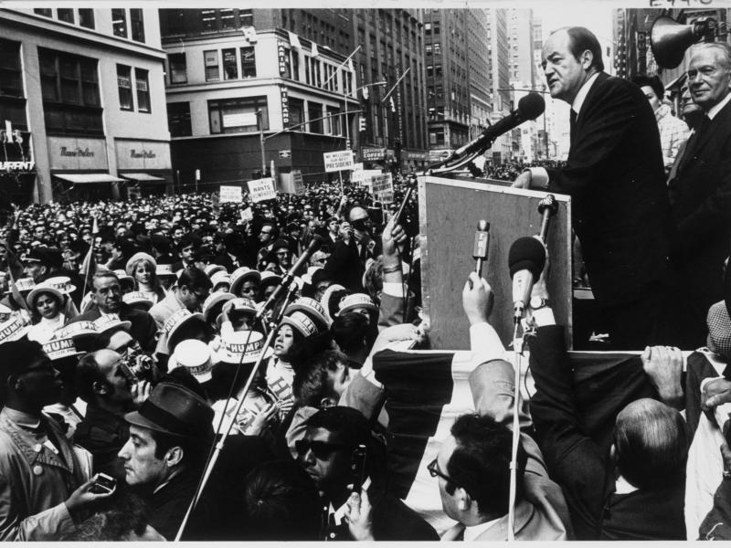Hubert Humphrey addresses crowd in 1968