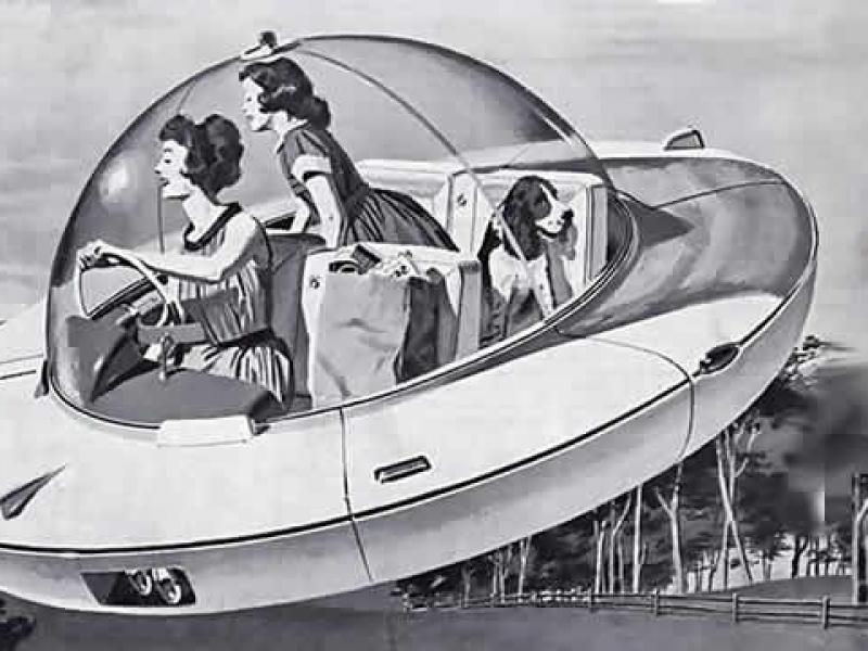 retro futuristic flying car