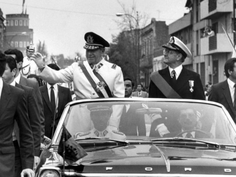 General Augusto Pinochet in a parade after taking power