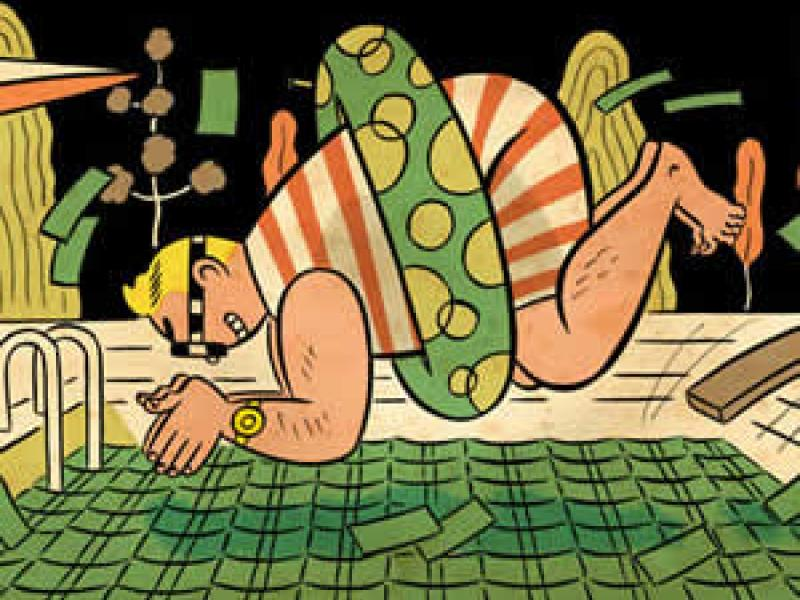 Cartoon of rich man diving into pool of money