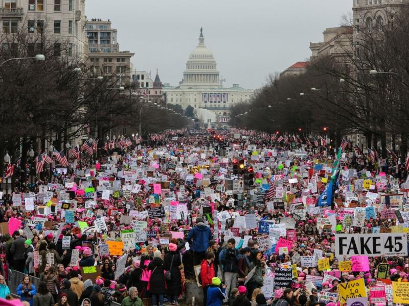 A women's march on Washington, DC, in 2017