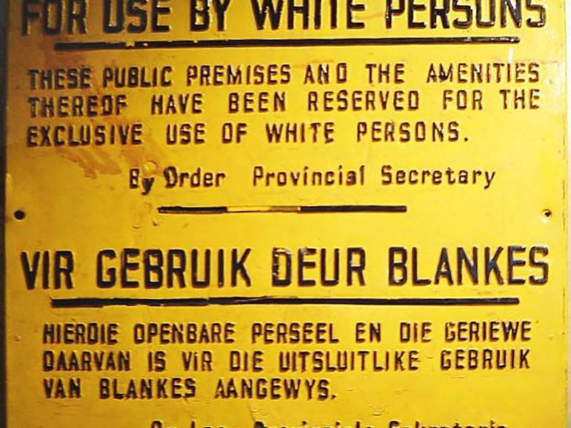 Whites-only signage from apartheid-era South Africa